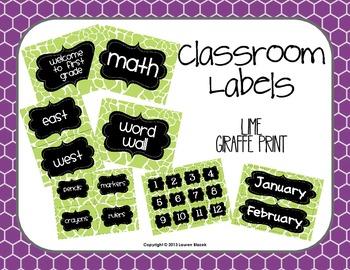 Classroom Labels {Lime Giraffe Print}