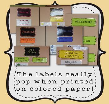 Classroom Labels - Line Art Design (text editable)