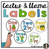 Classroom Labels: Llama, Cactus, Succulents