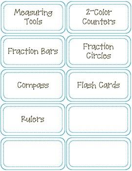 Classroom Labels-Math Supplies-Aqua