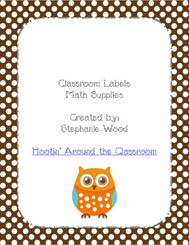 Classroom Labels-Math Supplies-Brown
