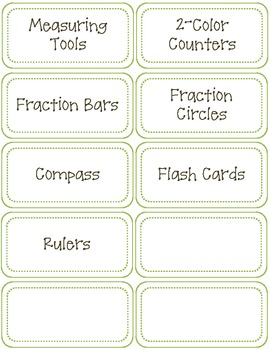 Classroom Labels-Math Supplies-Green