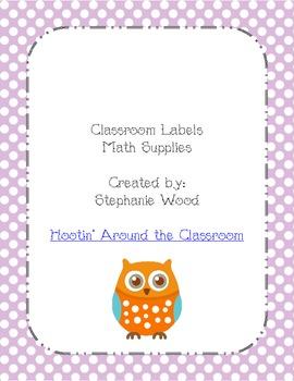 Classroom Labels-Math Supplies-Purple