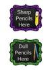 "Classroom Labels {Medium 4.2x5}: Glitter & Chalk - ""EDITABLE"" POWER-POINT Format"