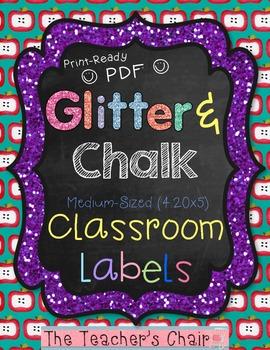 """Classroom Labels {Medium 4.2x5}: Glitter & Chalk - """"Ready To Print"""" PDF Format"""