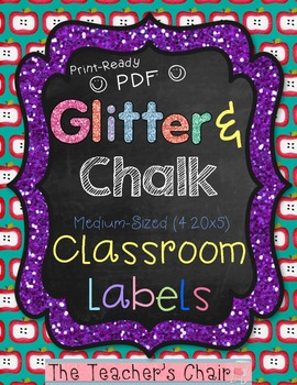 """Classroom Labels {Medium 4.2x5}: Glitter & Chalk - """"Ready"""