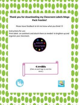 Classroom Labels Mega Pack Freebie