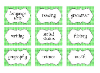 Classroom Labels Mega Pack (green)