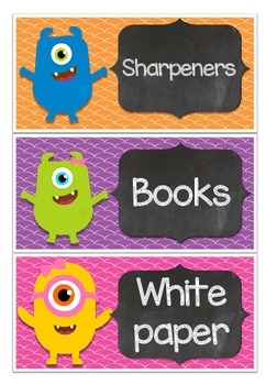 Classroom Labels Monster and Chalkboard Theme