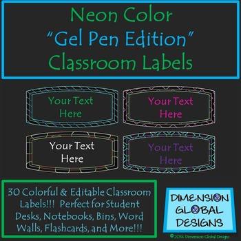 Classroom Labels : Neon Gel Pen Edition