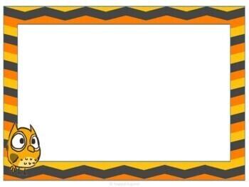Labels - Editable - Orange Chevron and Owls