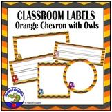 Editable Labels - Orange Chevron and Owls