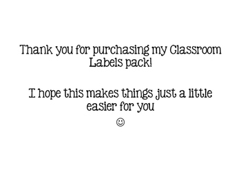 Classroom Labels Pack