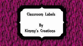 Classroom Labels (Pink Zebra)
