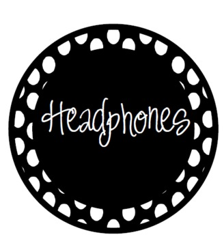 Classroom Labels- Polka Dot (black with white dots)