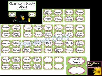 Classroom Labels ~ Polka Dots