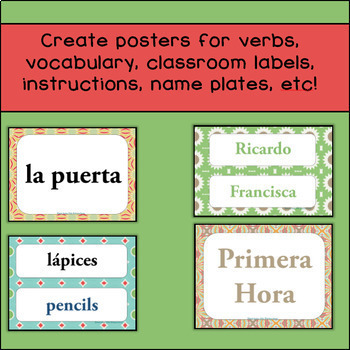 Classroom Labels / Posters (Editable!)  Warm Kaleidescope of Colors