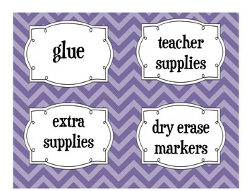 Classroom Labels-Purple