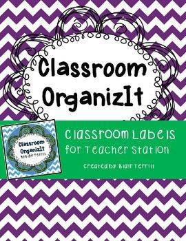 Classroom Labels Purple Chevron