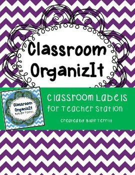 Classroom Labels Purple Chevron