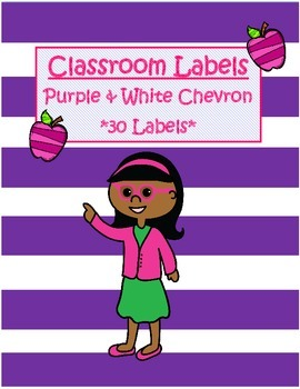 Classroom Labels-Purple & White Chevron *FREEBIE*