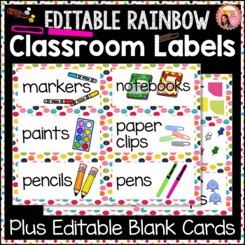 Rainbow Dot classroom Labels with 6 editable blank Cards