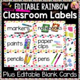 Rainbow Dot classroom Labels with 6 editable blank Cards