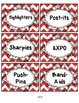 Classroom Labels Red Chevron