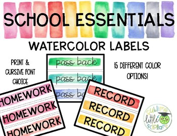 Classroom Labels School Essentials Watercolor