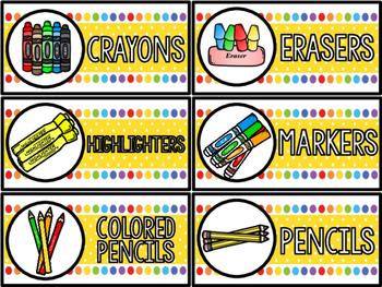 Classroom Labels: School Supplies