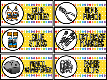 Classroom Labels: School Supplies