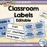 Classroom Labels Sloth Decor EDITABLE