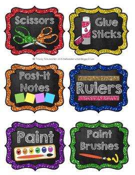 Classroom Labels (Small) Glitter & Chalk Design PDF Format