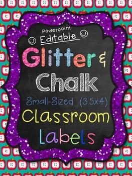 Classroom Labels (Small) Glitter & Chalk Design *EDITABLE!*