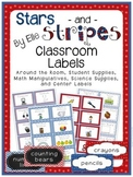 Classroom Labels - Stars and Stripes Theme {Red, White, and Blue}