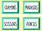 Classroom Labels, Sunshine Theme, yellow and teal (Editable)