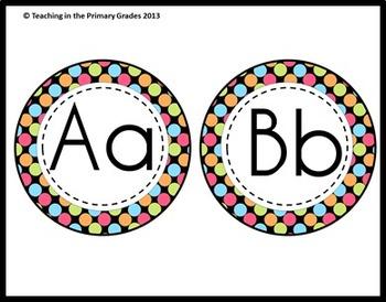 Classroom Labels Super Pack- Bright Polka Dots (Editable)