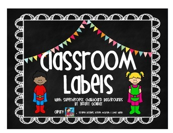 Classroom Labels (Superhero and Chalkboard Theme)