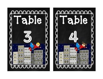 Classroom Labels (Superhero and Chalkboard Theme)