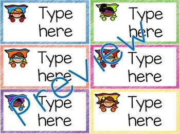 Classroom Labels - Editable - Superhero Theme
