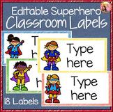 Superhero Theme Classroom Labels - Editable