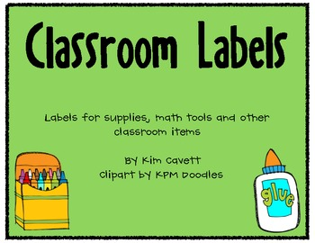 Classroom Labels: Supplies, Math Tools and Other Items
