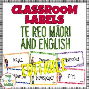 Te Reo Māori and English EDITABLE Classroom Decor Labels