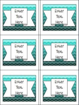 Classroom Labels- Teal Ombre Chevron