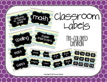Classroom Labels {Tri-Colored Chevron}