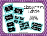 Classroom Labels {Turquoise Giraffe Print}