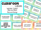 Classroom Labels- Water Color