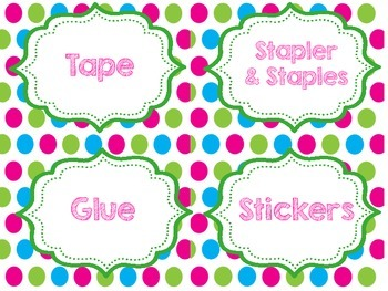Classroom Labels, Welcome Banner and Poem {pink, teal, blue, green theme}