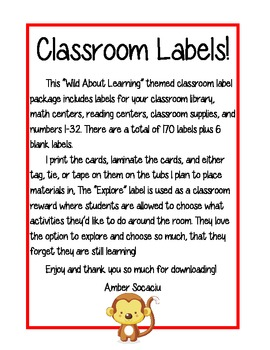 Classroom Labels - Wild About Learning Theme