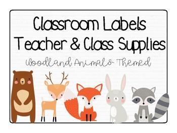 Classroom Labels: Woodland Animal Theme